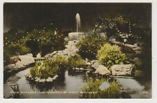 Hampshire postcard - Rock Gardens and Fountain by Night, Southsea