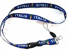 ITALY ITALIA Team Flag Neck Strap Necklace Key Chain Keyring