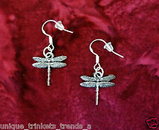 VTG INSP PRETTY DRAGONFLY WING DANGLE SILVER EARRINGS~STERLING HOOK~GIFT FOR HER