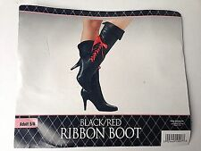 RIBBON Boots black/red shoes Fancy Dress Halloween Adult Costume Accessory 5/6
