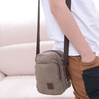 Men's Small Brown Military Canvas Messenger Shoulder Travel Hiking Bag
