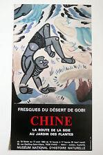 CHINE Affiche FRESQUES DU DÉSERT DE GOBI LA ROUTE DE LA SOIE 1983 PARIS ASIE