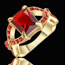 Size 7 Princess Cut red ruby Gemstore Engagement Ring Gold Rhodium Plated Gift