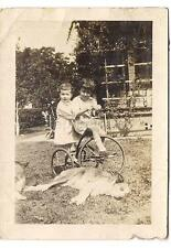 Adorable Kids Playing On Antique Tricycle Make Me Dog Tired! Vintage 1920s Photo