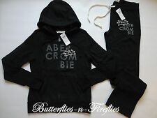 NEW NWT Abercrombie & Fitch 2pc Lounge Set Hoodie Sweatshirt Sweatpants Black M
