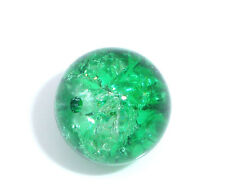 25 x EMERALD GREEN 10mm GLASS CRACKLE BEADS  - SAME DAY FREE  POSTAGE (UK SELLER