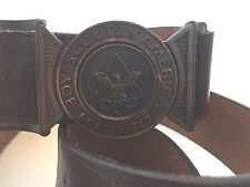 Vintage Boy Scout Interlocking Leather Belt & Buckle 32""