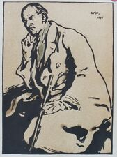 """William NICHOLSON : Portrait of James PRYDE"" Litho originale THE STUDIO 1901"