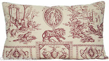 Red Cushion Cover Marvic Textiles Toile Empire Pillow Throw Lion Oblong Vintage