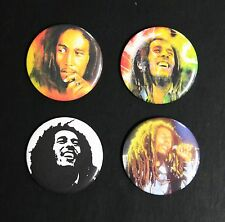 RARE SET OF (4) LARGE «BOB MARLEY» PIN BACK BUTTONS 2¼""