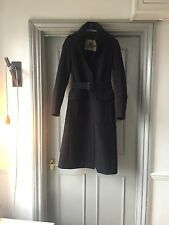BURBERRY Long Wool & Cashmere Navy Trench Coat
