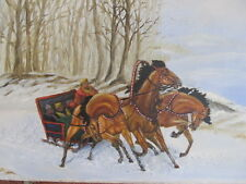 """VINTAGE 3 HORSE SLEIGH OIL PAINTING 15"""" X 30"""" FINE ART SIGNED SNOW PEOPLE TREES"""