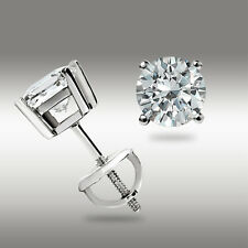 .50 Ct Stud Earrings 14K White Gold Round Cut W/Screwback Great Holiday Deal USA