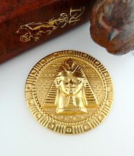 CLOSEOUT SALE Brass Round Embossed Egyptian KING TUT Stamping ~ Finding (FC-19)