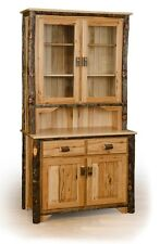 *ALL HICKORY* Rustic 2 Door Buffet & Hutch- Amish Made USA
