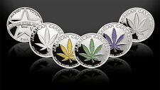 Set of 5 -1/10th Troy Oz .999 Solid Fine Silver Jamaican Cannabis Rounds/Coins