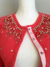 Free People Gorgeous Embellished Beaded Cardigan Sweater Coral - XS