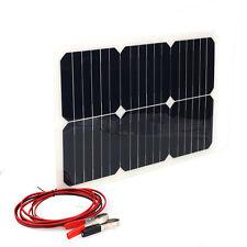 18V 20W Portable Solar Power Panel Car RV Battery Bank Charger W/Alligator Clip