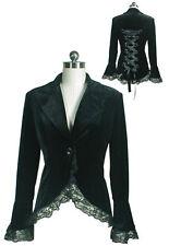 Black Velvet Lace Corset Back Jacket Steampunk Punk Gothic 18 Plus 18W 2X