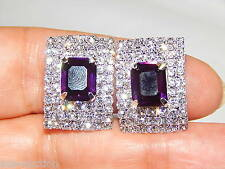 PURPLE & CLEAR RHINESTONE CRYSTAL CLIP SILVER EARRINGS