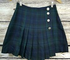 Vintage Pellini Schoolgirl uniform above knee plaid pleated high waist skirt B3
