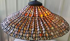 "LARGE 25"" SIGNED DALE TIFFANY STAINED GLASS LOTUS LEAF LAMP SHADE"