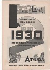 Pubblicità vintage BELGIO ANVERSA LIEGI 1930 advert reklame werbung publicitè