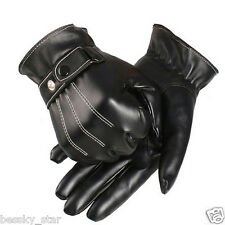 Men Black Winter Leather Motorcycle Driving Full Finger Ski Warm Gloves Mittens