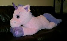 "GIGANTIC Dakin Big Eyed Laying Pink Unicorn 55"" Doll Plush Stuffed Animal NEW"