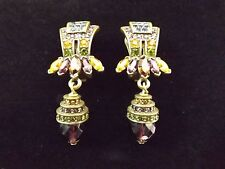Heidi Daus Multi Color Crystal Purple Amethyst Green Dangle Clip On Earrings