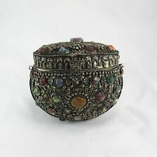 Antique Chinese Filigree Silver Purse With  Gemstones