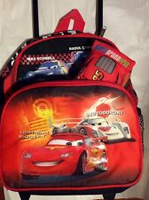 Disney Pixar Cars RARE SET: Lightning McQueenRolling Suitcase &Talking plush Toy