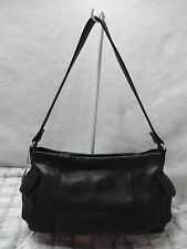 NICE FOSSIL Black LEATHER Handbag Hobo Shoulder Bag Purse w skeleton key charm