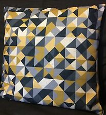ANY 4 £40 Yellow Grey Triangles Cushion Cover 18'' Double-side Mustard Geometric