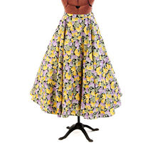 Vintage 50s Crisp Cotton Purple + Yellow Floral Novelty Print Full Circle Skirt