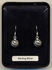 Silver Ball Filigree Design Sterling Silver 925 Drops Earrings