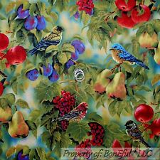 BonEful Fabric FQ Cotton Quilt Green Red Purple Grape BIRD Fruit Pear Tree Leaf
