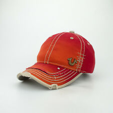 True Religion Front Side Tiny Leather U Patch Cap Hat $85 Red