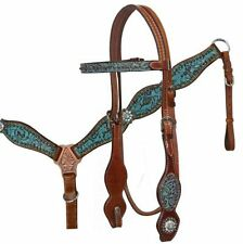 Showman Horse Headstall Breast Collar Teal & Brown Filigree Print MEDIUM LEATHER