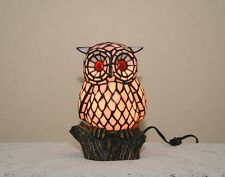 "10.5""H Stained Glass Tiffany Style Owl Night Light Table Desk Lamp."