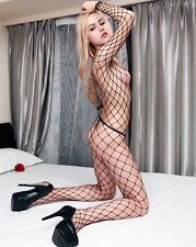 Long Sleeve Seamless Big Diamond Net Bodystocking Fishnet Body Stocking Bodysuit