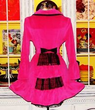Betsey Johnson Robe PINK VELOUR Black Lace BUSTLE BACK Fit & Flare Bath Dress S