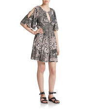 128267 New $148 Free People Love Birds Printed Cutout Lace Floral Tunic Dress S