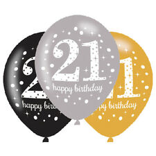 6 x 21st Birthday Balloons Black Silver Gold Party Decorations Age 21 Balloons