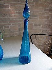 "EMPOLI BLUE ART GLASS SQUIGGLE DESIGN DECANTER 20""T X 4 3/4""W ITALY $40.00"