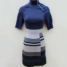 Karen Millen Multi Stripe Fine Knit Cocktail Winter Jumper Tunic Dress SZ-2 10/8