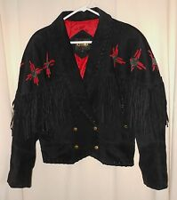 Vtg Women's 80's Fringe Jacket Suede Bolero Deep V Western Chic Learsi Medium