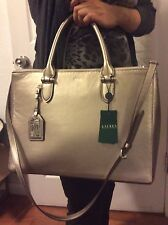 $348 RALPH LAUREN  bag large school laptop autenthic leather, silver leather