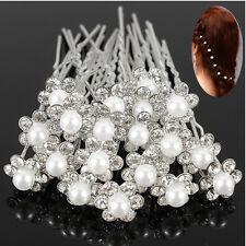 20pz Forcine da Sposa Fermaglio Capelli Acconciatura Perla Fiore Hair Pins Clips