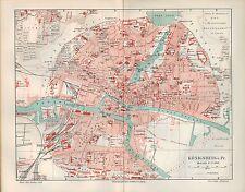 CARTINA City Map 1907: mappa della città: re montagna in di Prussia. età di nuovi Pregel